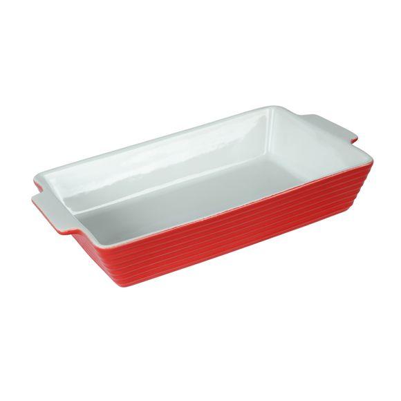Piatto rettangolare in gres porcellanato rosso, 35x20 cm