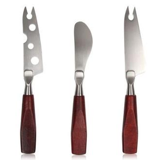 Set 3 couteaux à fromage inox et manche bois
