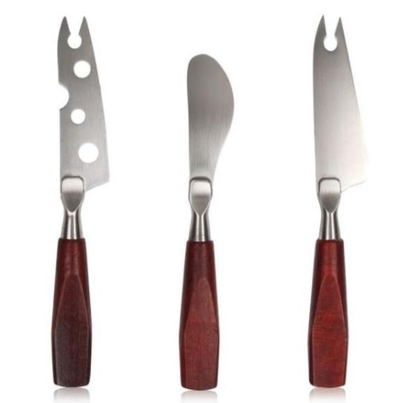 Set 3 coltelli da formaggio con manico in legno