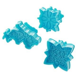 SCRAPCOOKING 3 découpoirs éjecteurs Reine des neiges plastique bleu