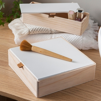 Base boite à bijoux en bois carré compartimenté 20x20x5,5cm