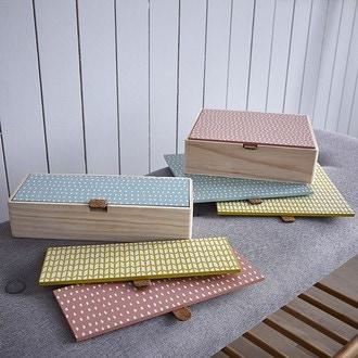 Couvercle réversible pour boite à bijoux en bois carré compartimenté sauge