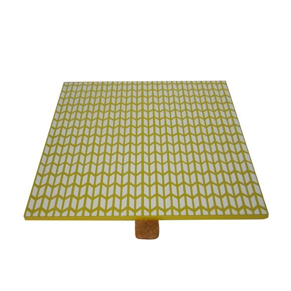 Couvercle réversible pour boite à bijoux en bois/ jaune