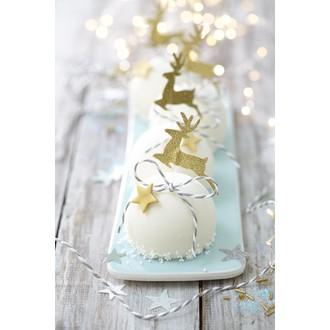 cake topper forme cerf doré et tige plastique blanche
