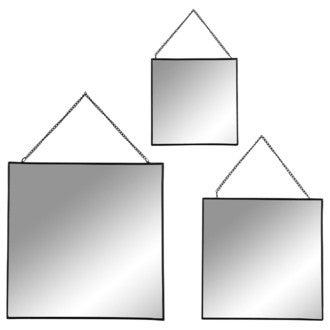 Lot 3 miroirs carrés bords métal noir avec chaîne 17x20- 22x25-27x30cm