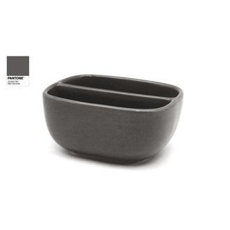 Porte éponge double compartiment en céramique gris