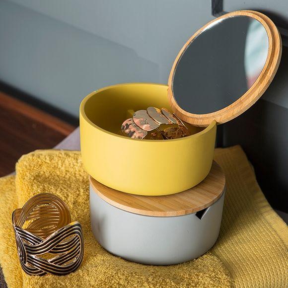 Boite à bijoux ronde avec couvercle miroir en bambou cendre