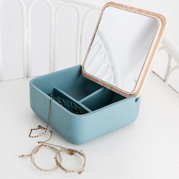 Boite à bijoux carré avec couvercle miroir en bois jade