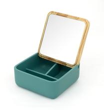 Achat en ligne Boite à bijoux carré avec couvercle miroir en bois jade