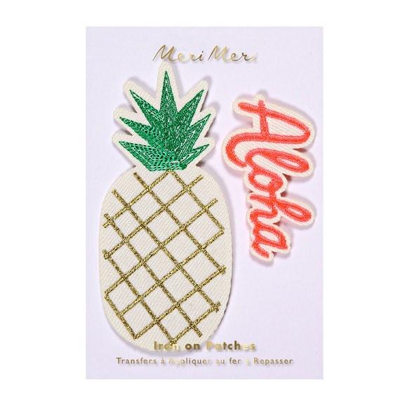 Lot de 2 écussons thermocollants Ananas