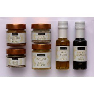 Coffret 6 produits huile, vinaigre, terrine, confit, sel, poivre, moutarde prestige