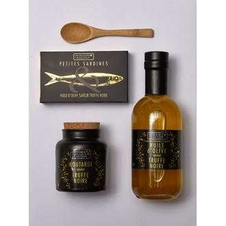 Coffret 4 produits huile, sardines, moutarde, l'or noir