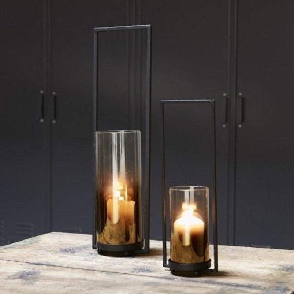 Photophore en verre ambré avec anse métal noir 32.5x11,5x9