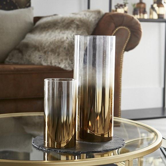 Photophore en verre ambré avec anse métal noir 48,5x14x10 cm