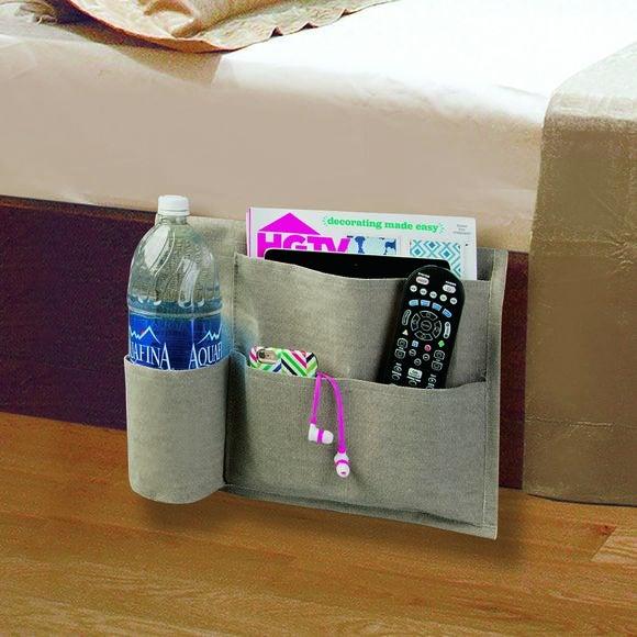 Vide poche pour côté du lit en toile enduite 36x8cm