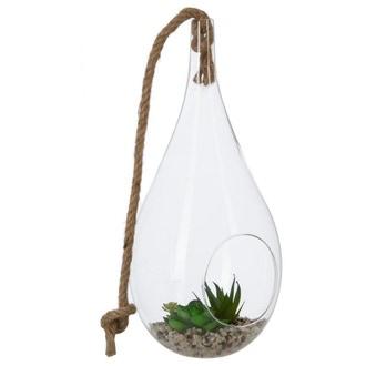 Vase goutte en verre à suspendre avec plante d10xh19cm