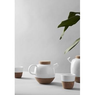 VIVA SCANDINAVIA - Théière avec boule à thé inox en liège et porcelaine blanche Lauren 80cl
