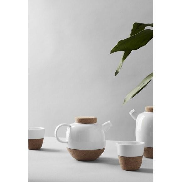 Théière boule à thé inox liège et porcelaine 80cl