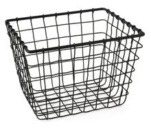 Achat en ligne  Panier filaire en métal epoxy noir mat 18x22x16,5cm