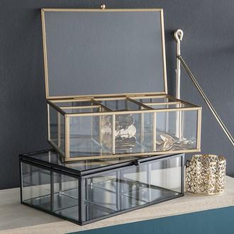 Boite à bijoux rectangulaire en métal doré et verre Modern Life 20x14x7cm