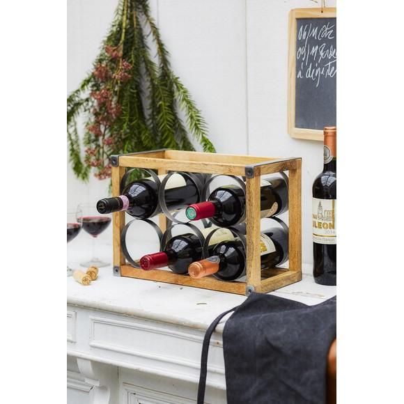 Casier à 6 bouteilles à vin en bois et métal