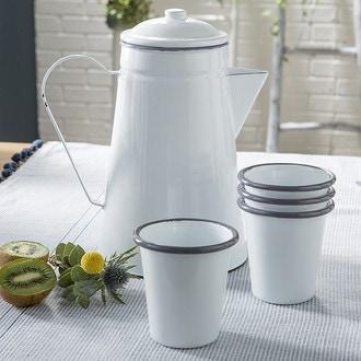 Cafetière en émail Blanc et gris