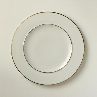 Assiette plate en porcelaine blanche, filet or, gala 28cm