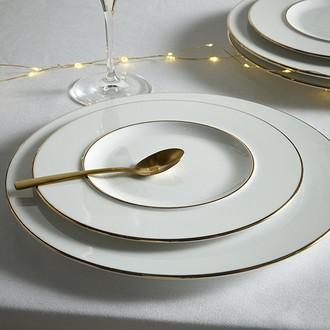 Assiette dessert en porcelaine blanche, filet or, gala 22cm