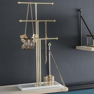 Arbre à bijoux en métal blanc et doré trigem 48x22x10cm