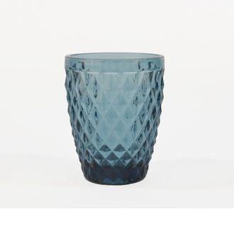 Gobelet en verre coloré, motif diamant bleu, 28cl