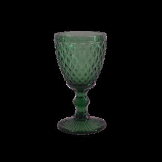 Verre à pied coloré, motif diamant vert, 34cl