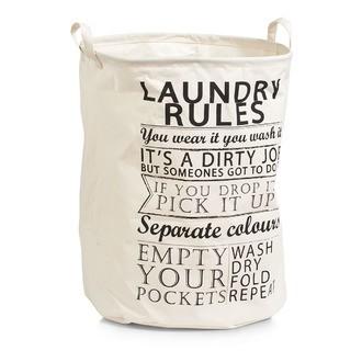 Panier à linge en textile avec poignée Laundry Rules 38x48cm