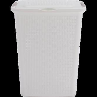 SUNDIS - Panier à linge 50L Country blanc 45x33,8x57,5 cm