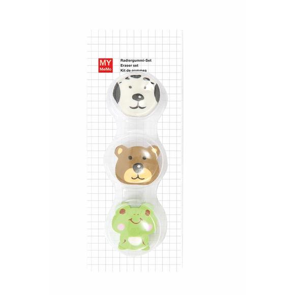 kit de 3 gommes tetes animaux 1