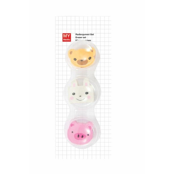 Lot de 3 gommes animaux lapin, cochon, ourson