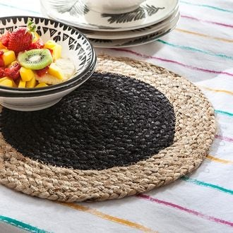 Set de table rond en jute, naturel et noir, 32cm