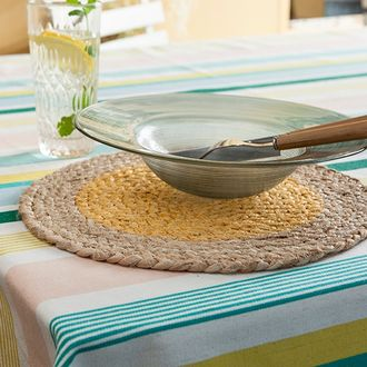 Set de table rond en jute, naturel et jaune, 32cm