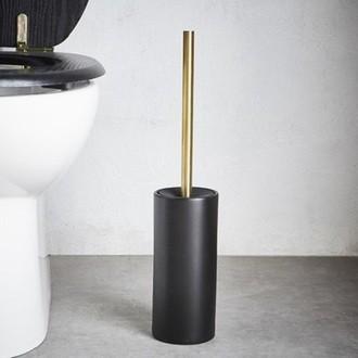 Balai WC en céramique noire et manche en métal doré Kohl
