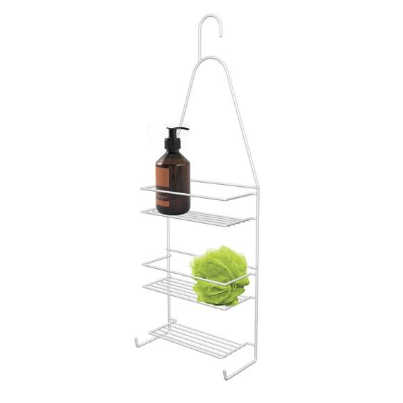 Serviteur de douche à suspendre métal epoxy blanc 22x10x64cm