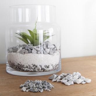 Pierres décoratives naturelles 16-22mm gris en pot de 800g