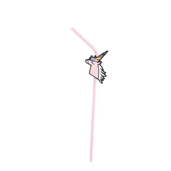 Paille rose licorne irisee