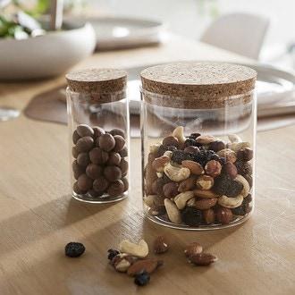 Pot de conservation en verre avec couvercle en liège 175 ml