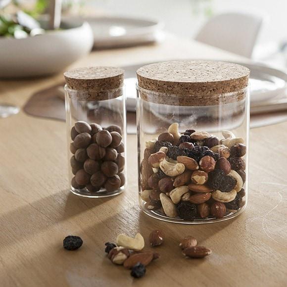 Pot de conservation en verre avec couvercle en liège 650 ml