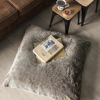 Harmony - coussin de sol effet fourrure marmotte 80x80cm