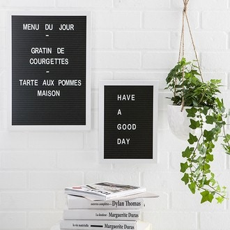 Letters board alpha noir MDF et intissé + 292 lettres et nombres blancs A3