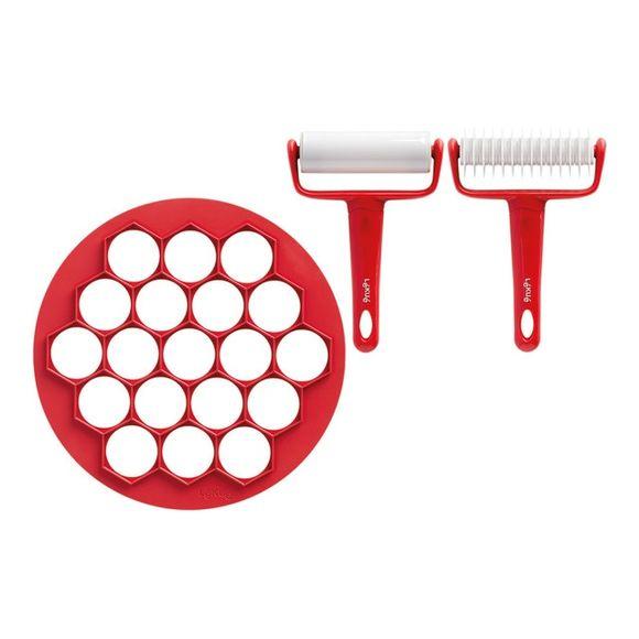 Kit petits fours découpoir plastique rouge et rouleau blanc