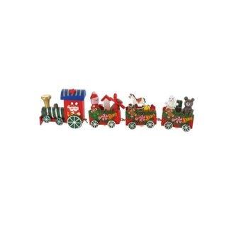 Sujet deco Petit train de Noël en bois rouge pour bûche et gateau