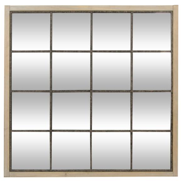 Achat en ligne Miroir industriel à carreaux contour bois 90x90cm