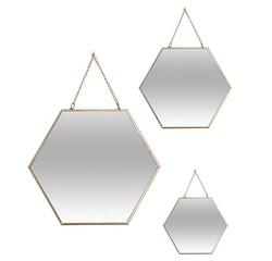 compra en línea 3 espejos de pared hexagonales con borde dorado