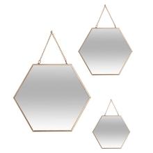Achat en ligne 3 miroirs hexagone or
